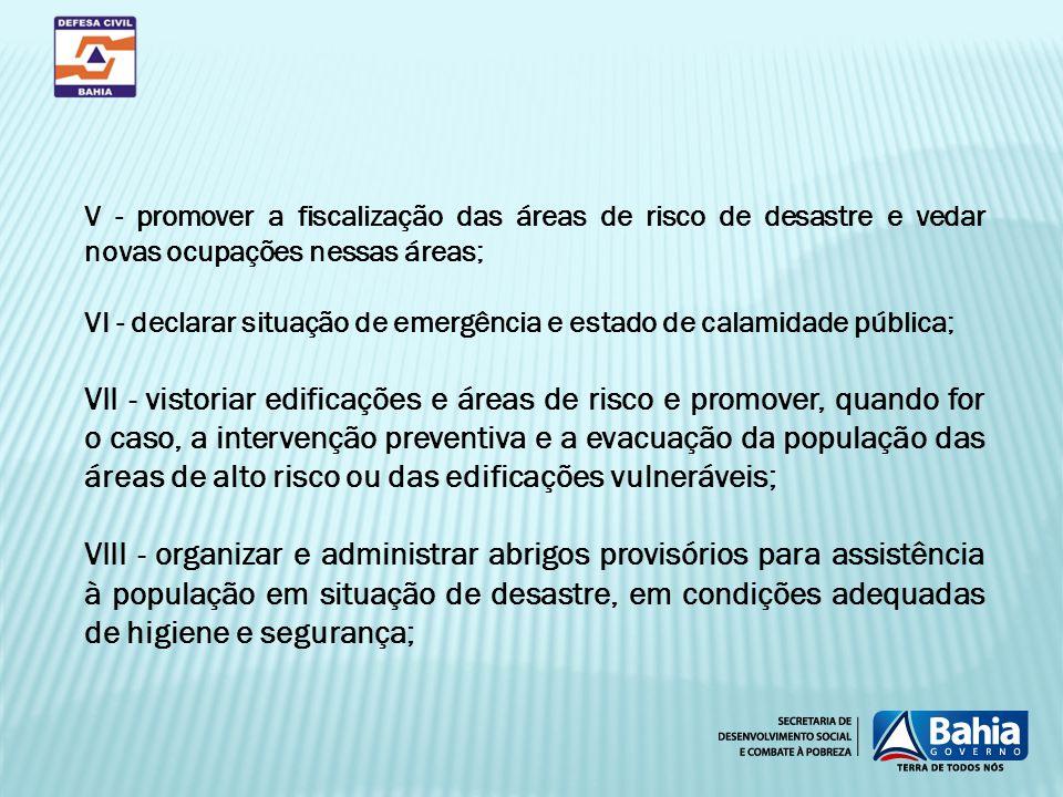 V - promover a fiscalização das áreas de risco de desastre e vedar novas ocupações nessas áreas;