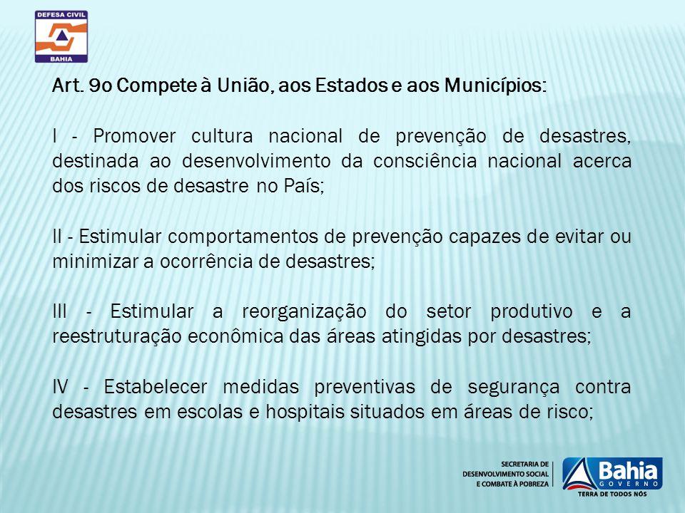 Art. 9o Compete à União, aos Estados e aos Municípios: