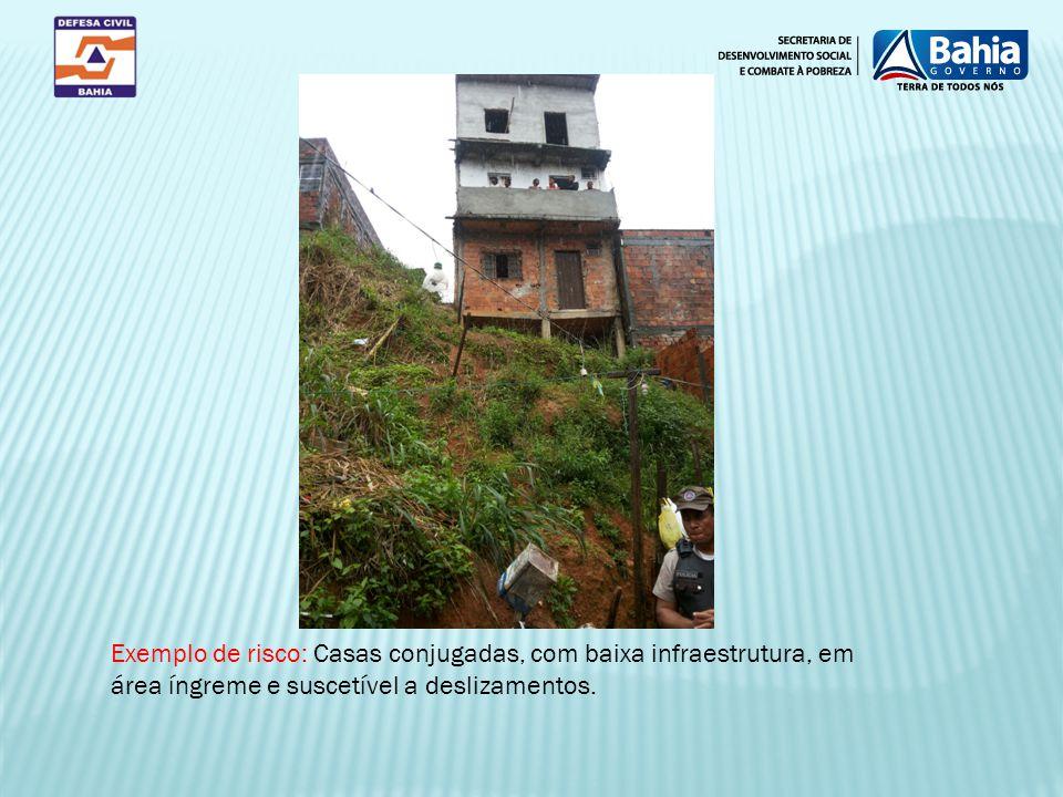 Exemplo de risco: Casas conjugadas, com baixa infraestrutura, em área íngreme e suscetível a deslizamentos.