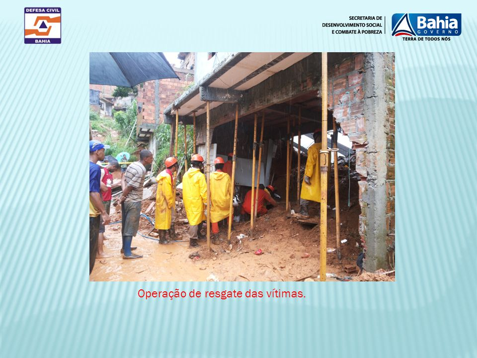 Operação de resgate das vítimas.