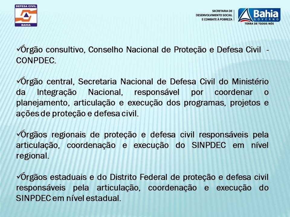 Órgão consultivo, Conselho Nacional de Proteção e Defesa Civil - CONPDEC.