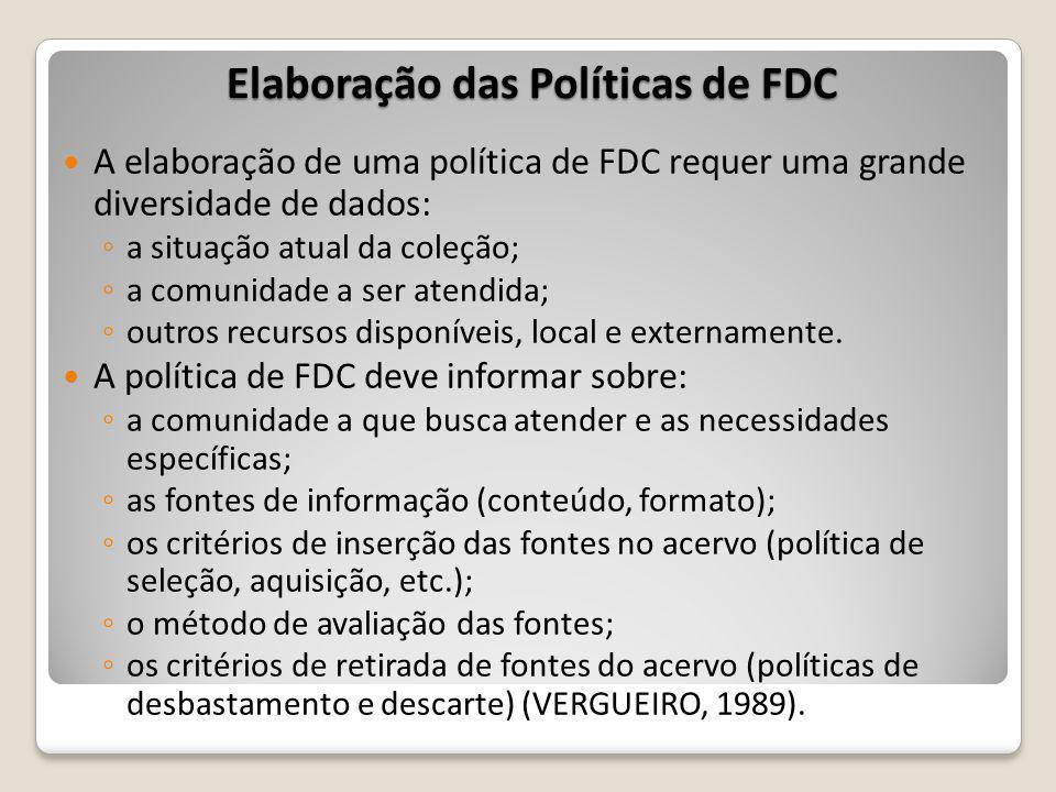 Elaboração das Políticas de FDC