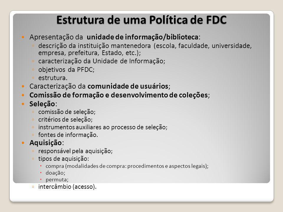 Estrutura de uma Política de FDC