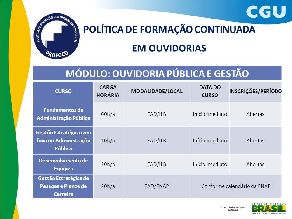 POLÍTICA DE FORMAÇÃO CONTINUADA EM OUVIDORIAS
