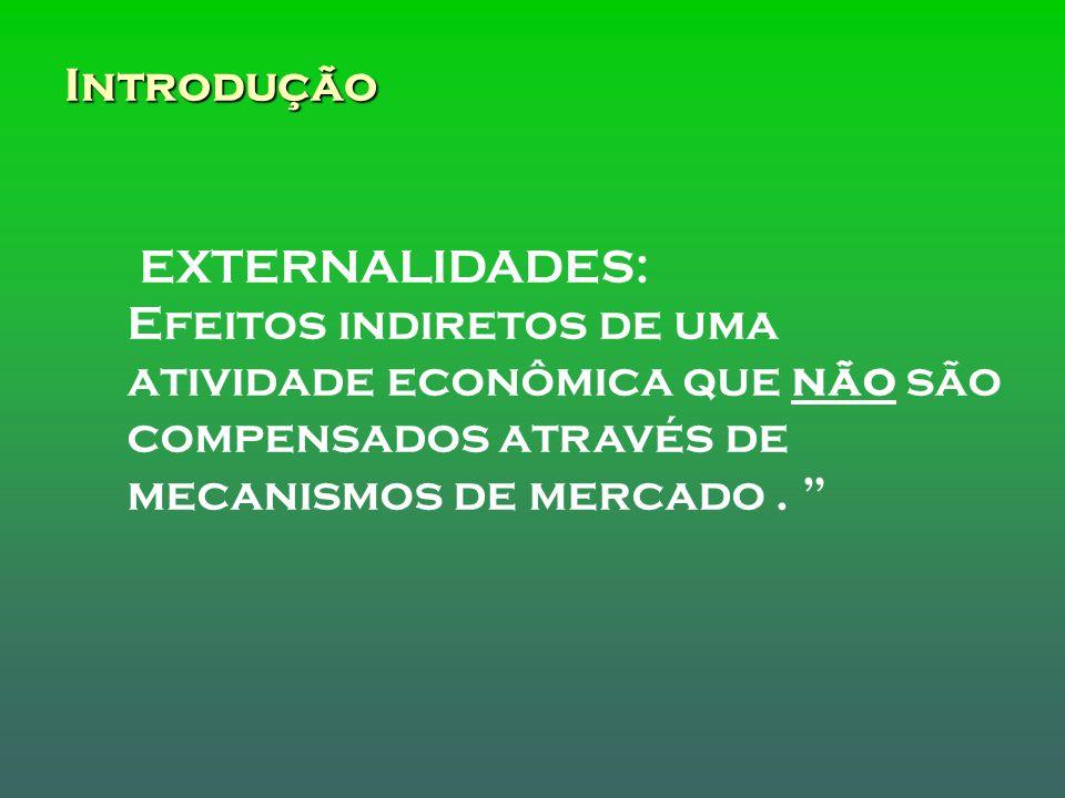 Introdução EXTERNALIDADES: Efeitos indiretos de uma atividade econômica que não são compensados através de mecanismos de mercado .