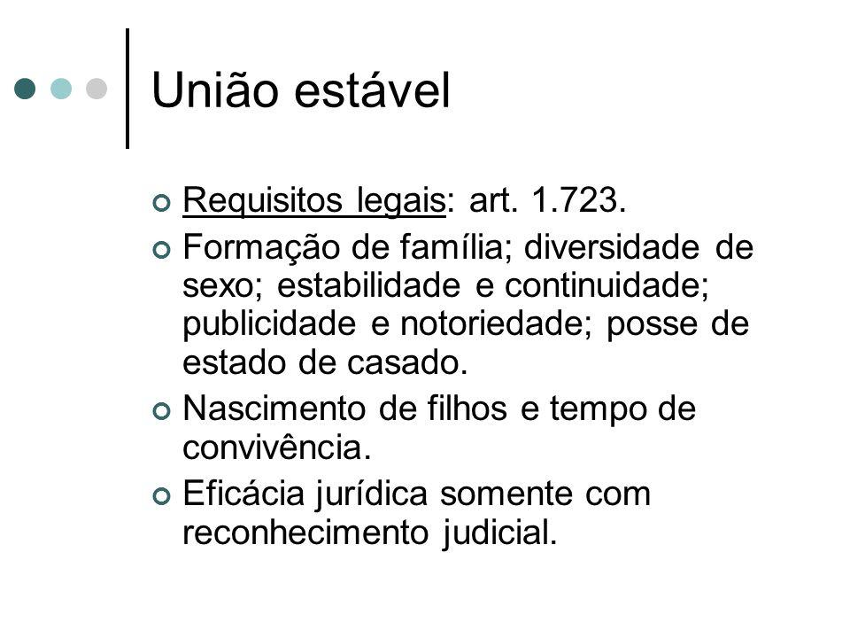 União estável Requisitos legais: art. 1.723.