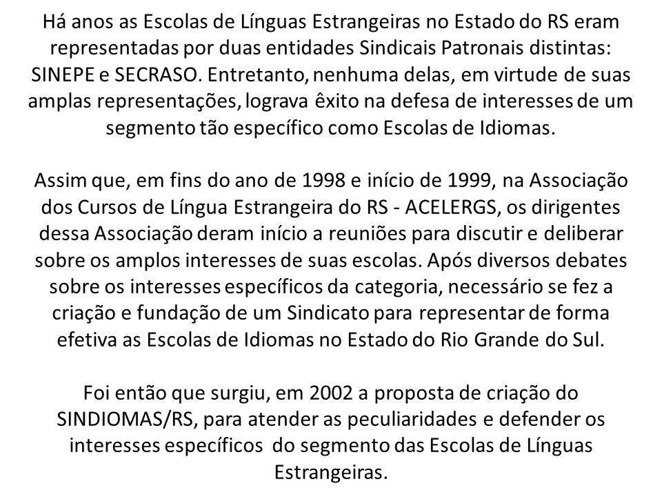 Há anos as Escolas de Línguas Estrangeiras no Estado do RS eram representadas por duas entidades Sindicais Patronais distintas: SINEPE e SECRASO.
