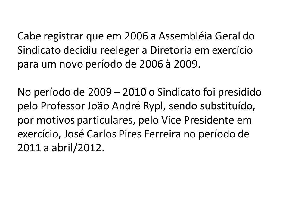 Cabe registrar que em 2006 a Assembléia Geral do Sindicato decidiu reeleger a Diretoria em exercício para um novo período de 2006 à 2009.