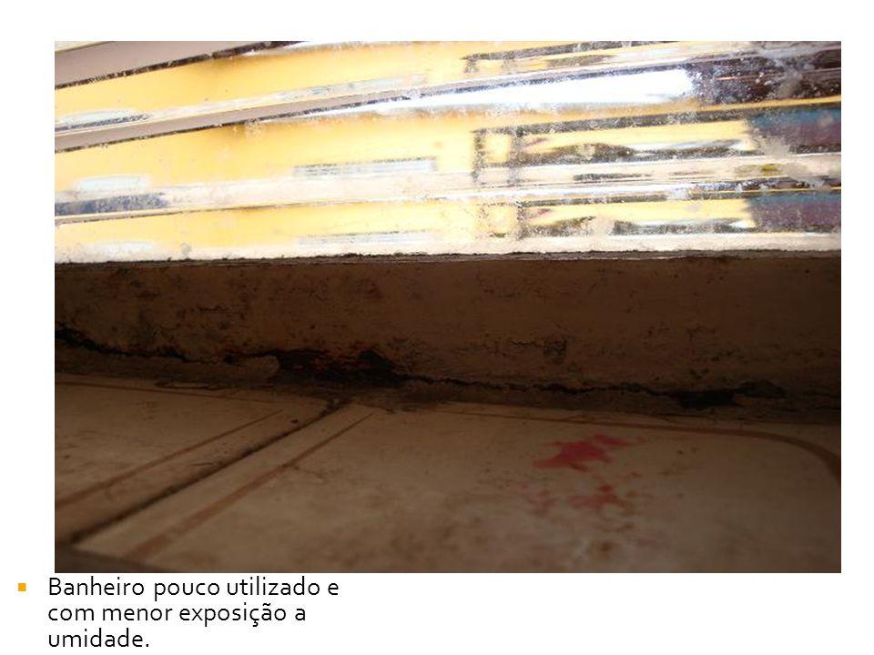 Banheiro pouco utilizado e com menor exposição a umidade.