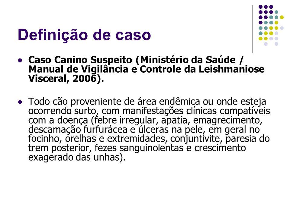 Definição de caso Caso Canino Suspeito (Ministério da Saúde / Manual de Vigilância e Controle da Leishmaniose Visceral, 2006).