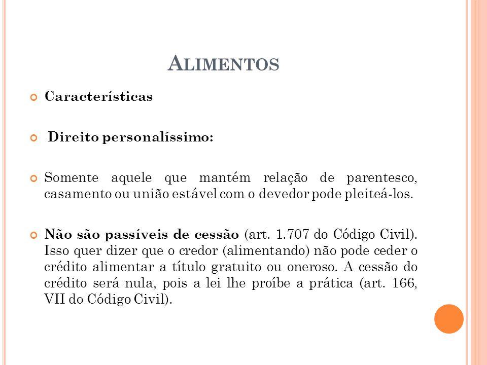 Alimentos Características Direito personalíssimo: