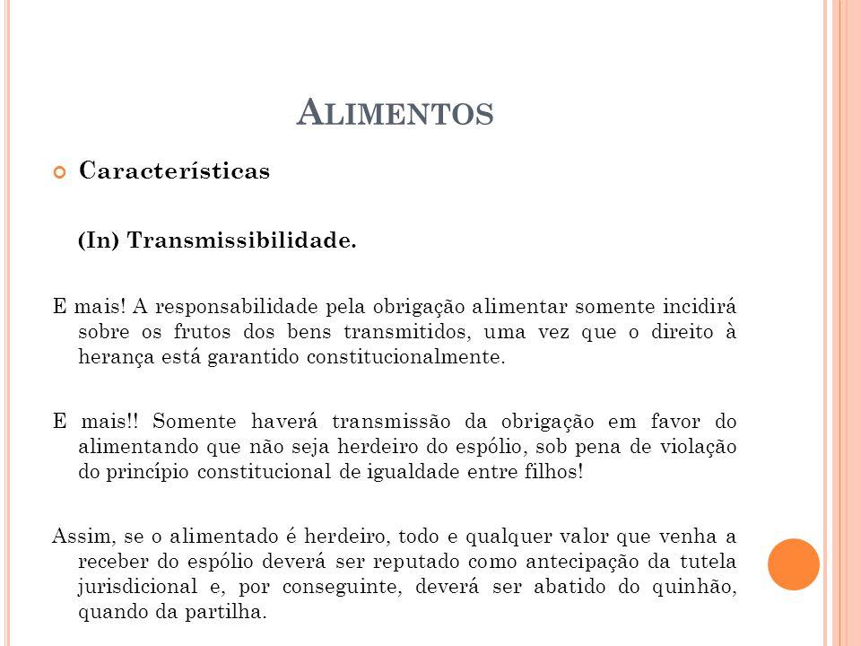 Alimentos Características (In) Transmissibilidade.