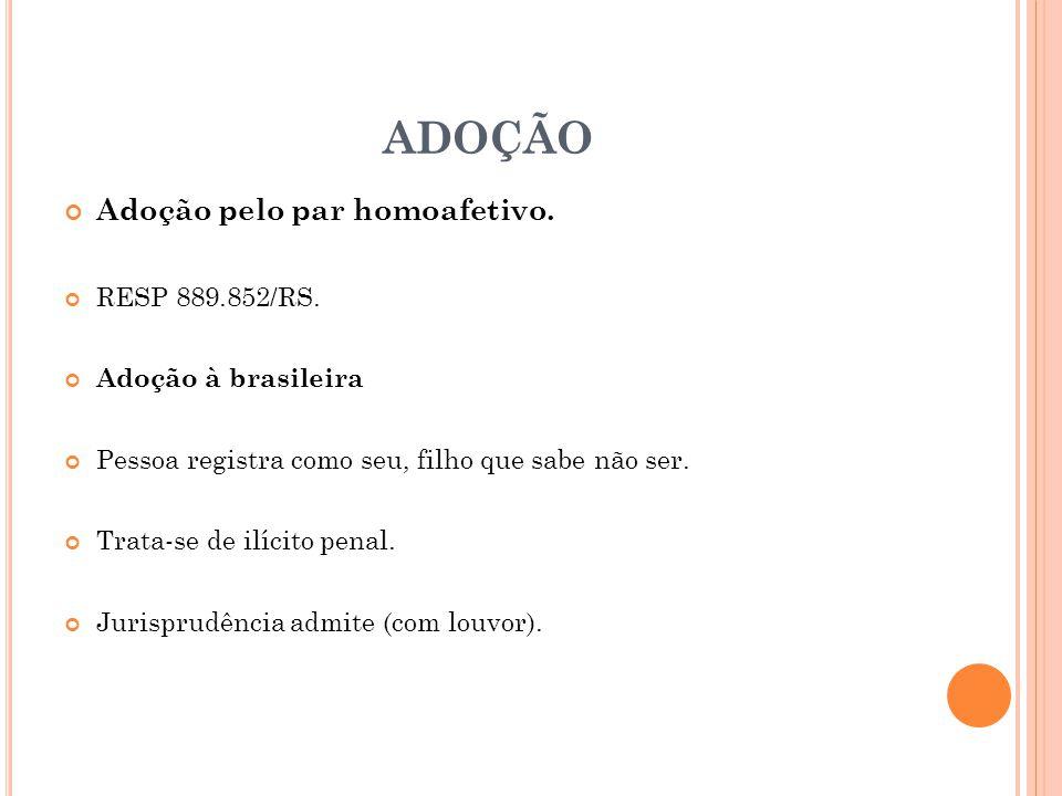 ADOÇÃO Adoção pelo par homoafetivo. RESP 889.852/RS.
