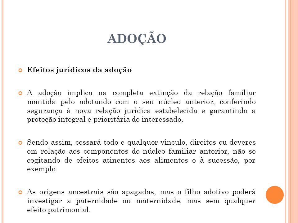 ADOÇÃO Efeitos jurídicos da adoção