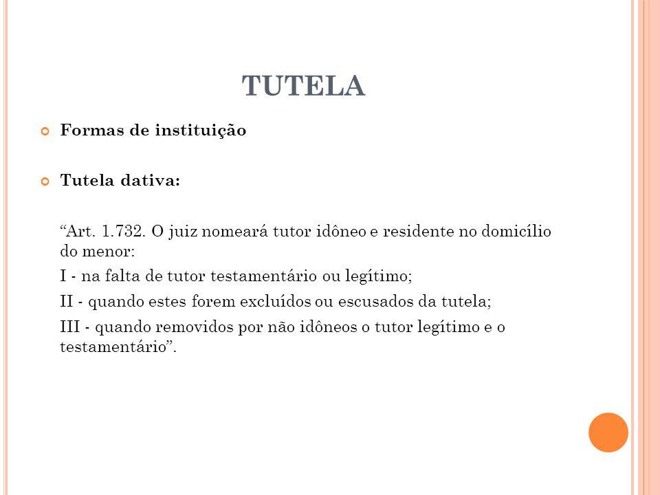 TUTELA Formas de instituição Tutela dativa: