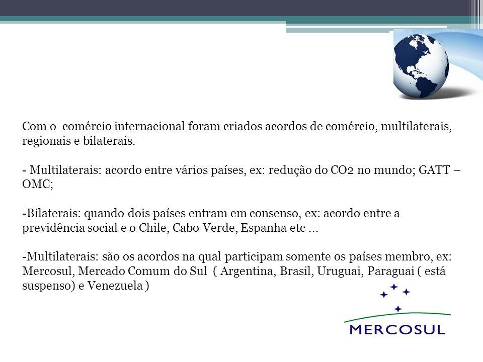 Com o comércio internacional foram criados acordos de comércio, multilaterais, regionais e bilaterais.