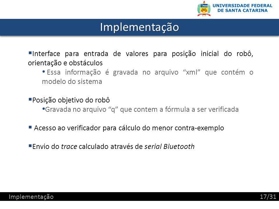 Implementação Interface para entrada de valores para posição inicial do robô, orientação e obstáculos.