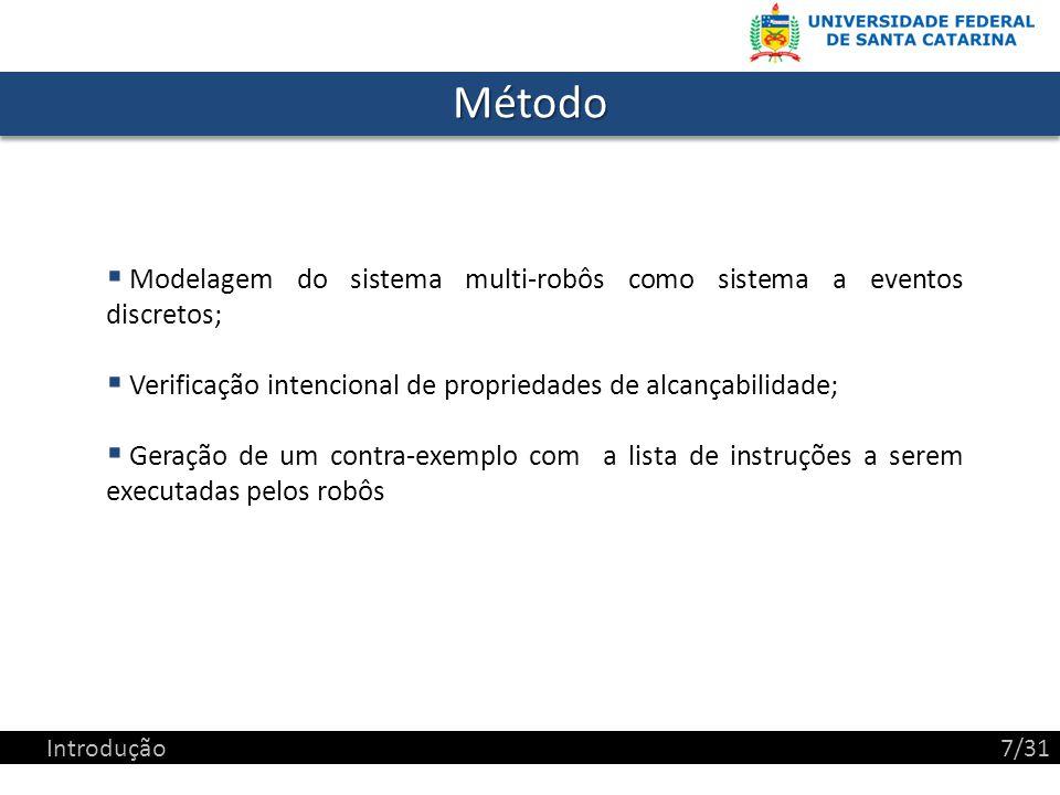 Método Modelagem do sistema multi-robôs como sistema a eventos discretos; Verificação intencional de propriedades de alcançabilidade;