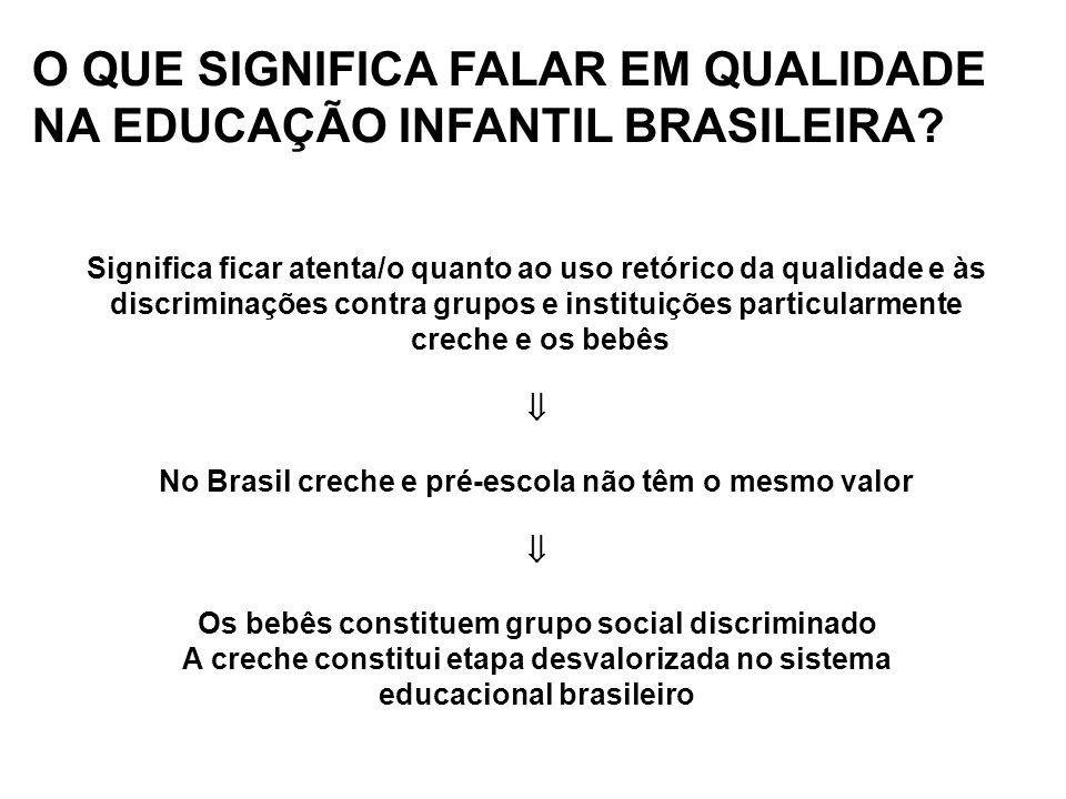O QUE SIGNIFICA FALAR EM QUALIDADE NA EDUCAÇÃO INFANTIL BRASILEIRA