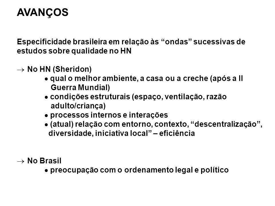 AVANÇOS Especificidade brasileira em relação às ondas sucessivas de estudos sobre qualidade no HN.