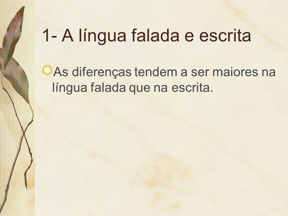 1- A língua falada e escrita