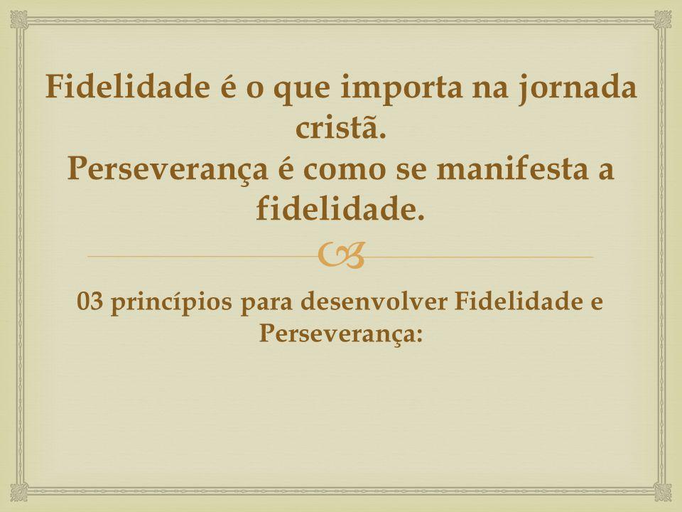 03 princípios para desenvolver Fidelidade e Perseverança: