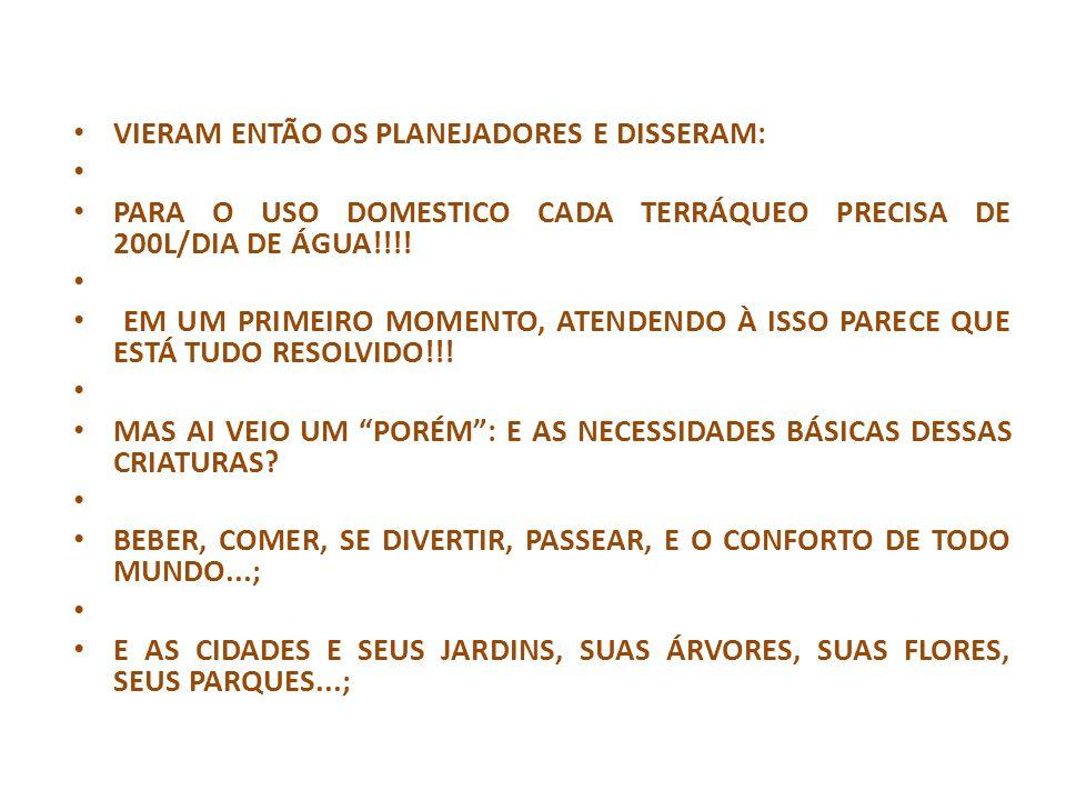 VIERAM ENTÃO OS PLANEJADORES E DISSERAM: