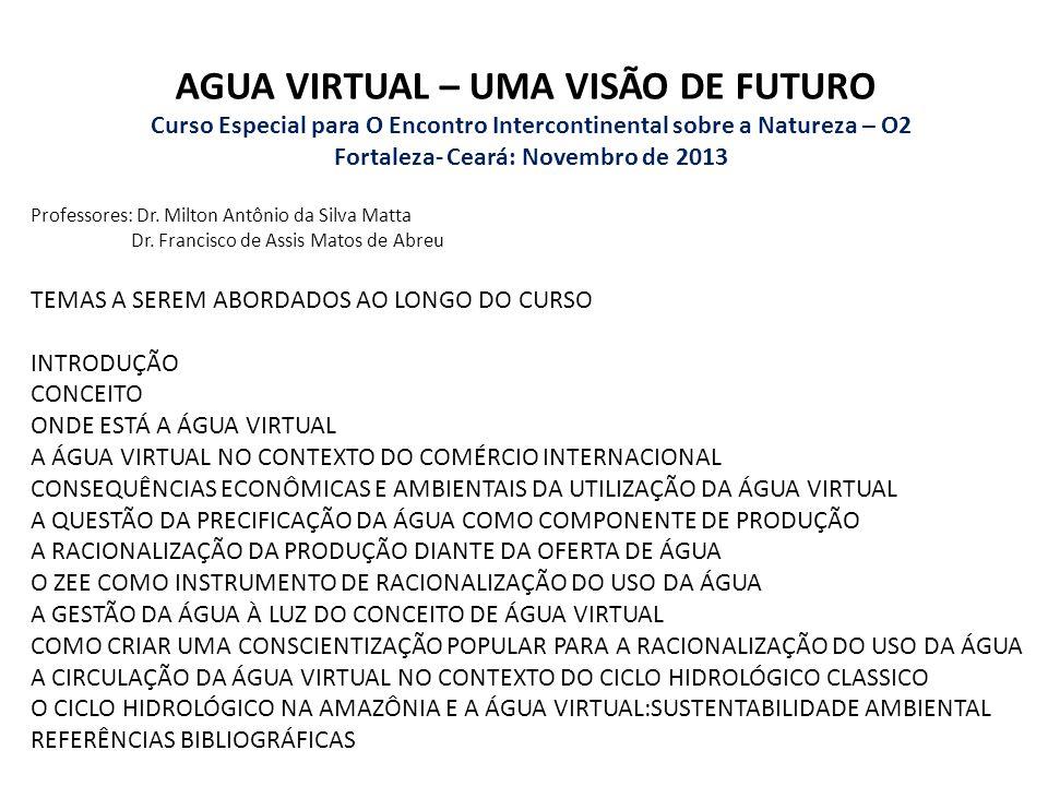 AGUA VIRTUAL – UMA VISÃO DE FUTURO