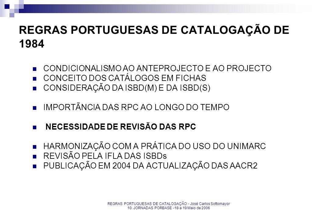 REGRAS PORTUGUESAS DE CATALOGAÇÃO DE 1984