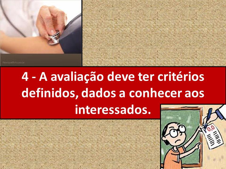 4 - A avaliação deve ter critérios definidos, dados a conhecer aos interessados.