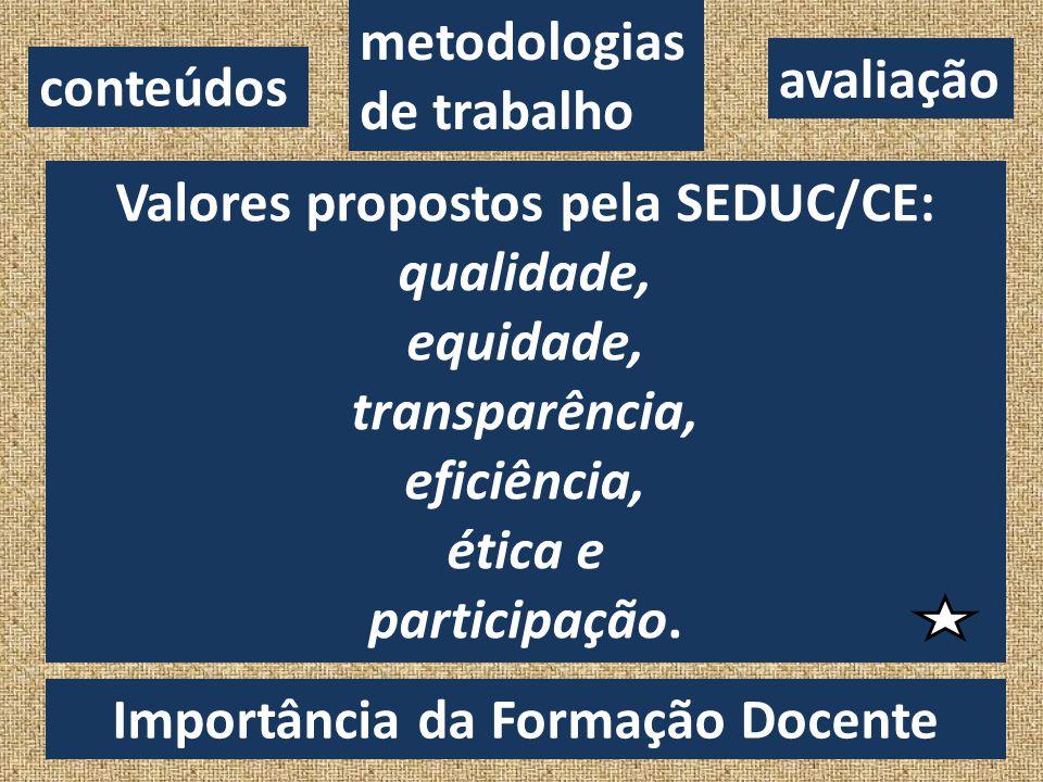 Valores propostos pela SEDUC/CE: qualidade, equidade, transparência,