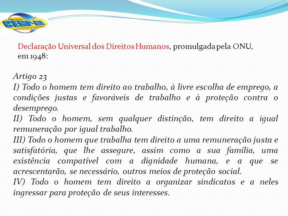 Declaração Universal dos Direitos Humanos, promulgada pela ONU, em 1948: