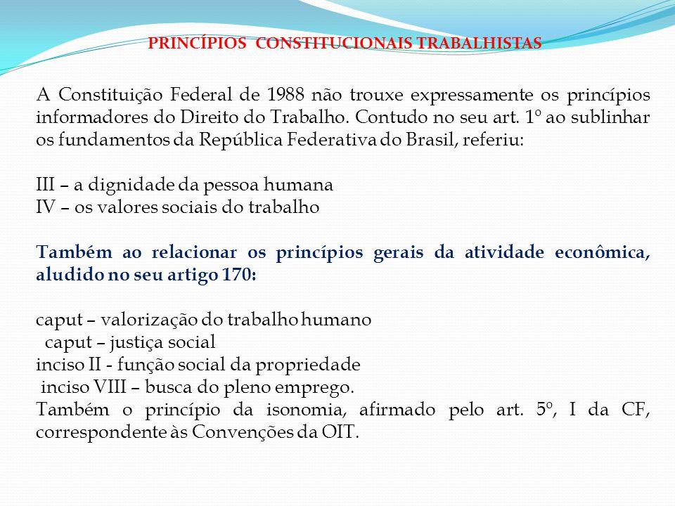 III – a dignidade da pessoa humana IV – os valores sociais do trabalho