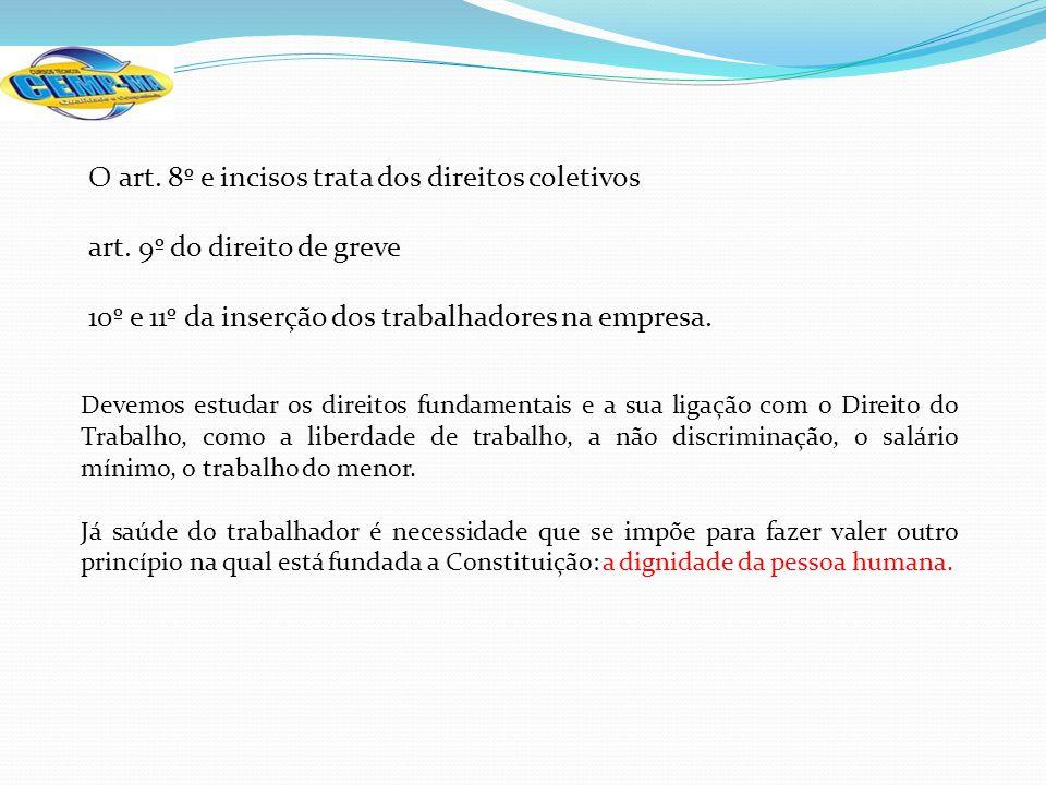 O art. 8º e incisos trata dos direitos coletivos
