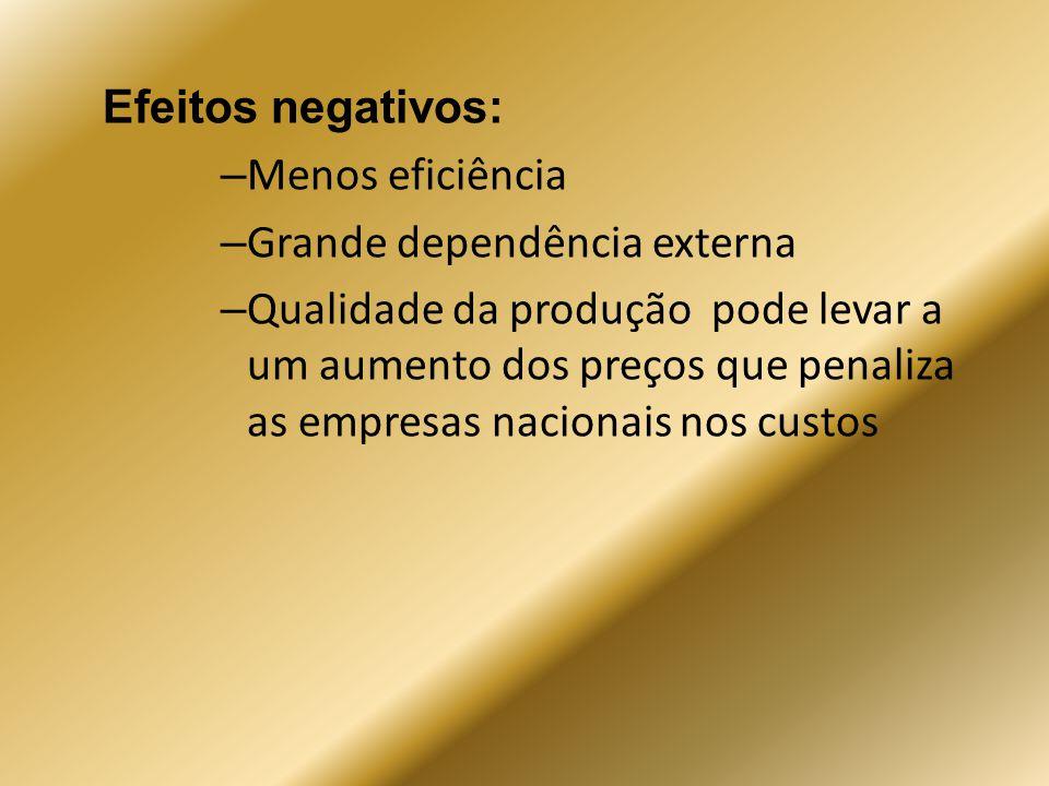 Efeitos negativos: Menos eficiência. Grande dependência externa.