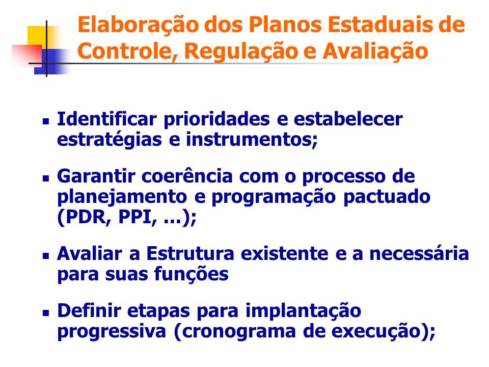 Elaboração dos Planos Estaduais de Controle, Regulação e Avaliação