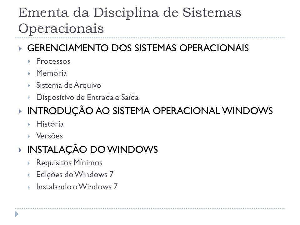 Ementa da Disciplina de Sistemas Operacionais