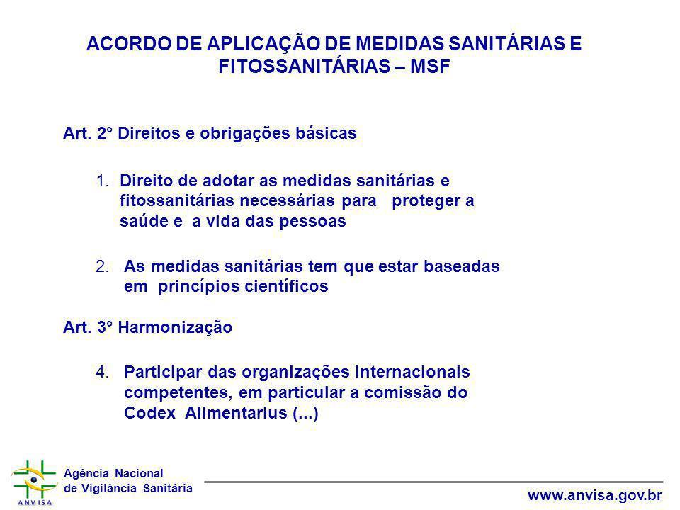 ACORDO DE APLICAÇÃO DE MEDIDAS SANITÁRIAS E FITOSSANITÁRIAS – MSF
