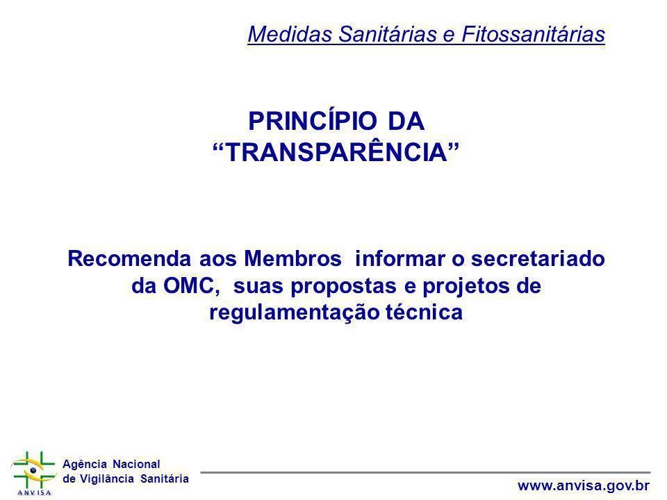 PRINCÍPIO DA TRANSPARÊNCIA Medidas Sanitárias e Fitossanitárias
