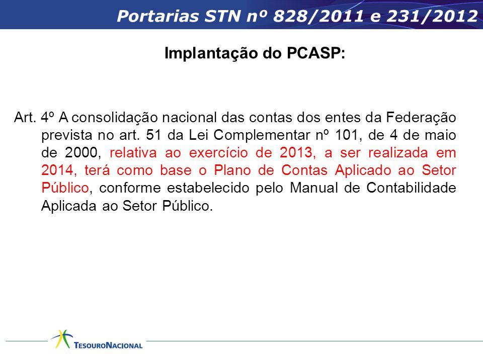 Portarias STN nº 828/2011 e 231/2012 Implantação do PCASP: