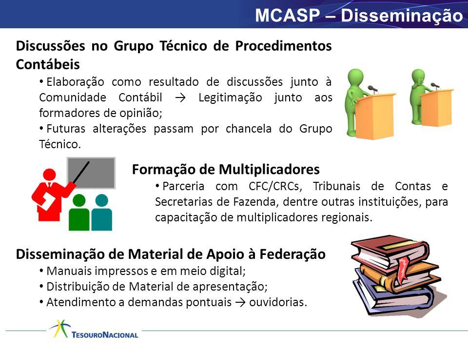 MCASP – Disseminação Discussões no Grupo Técnico de Procedimentos Contábeis.