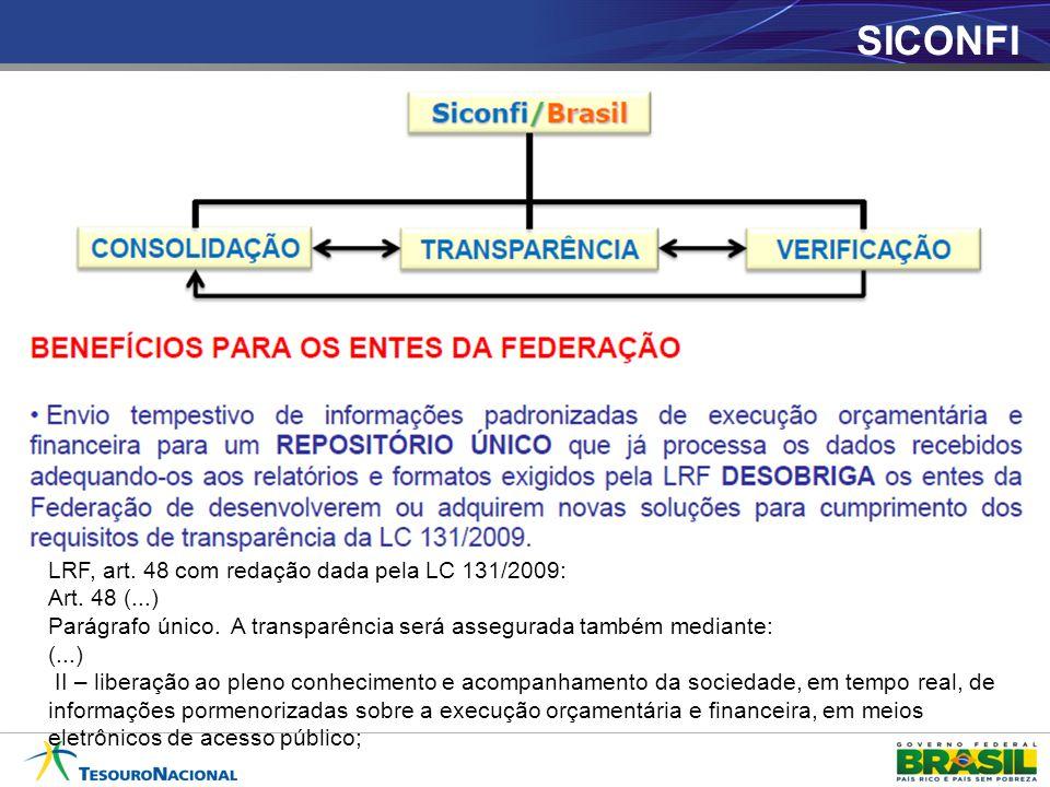 SICONFI LRF, art. 48 com redação dada pela LC 131/2009: Art. 48 (...)