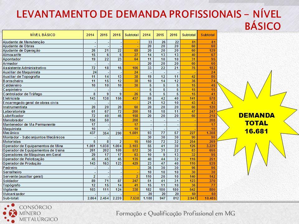 LEVANTAMENTO DE DEMANDA PROFISSIONAIS - NÍVEL BÁSICO