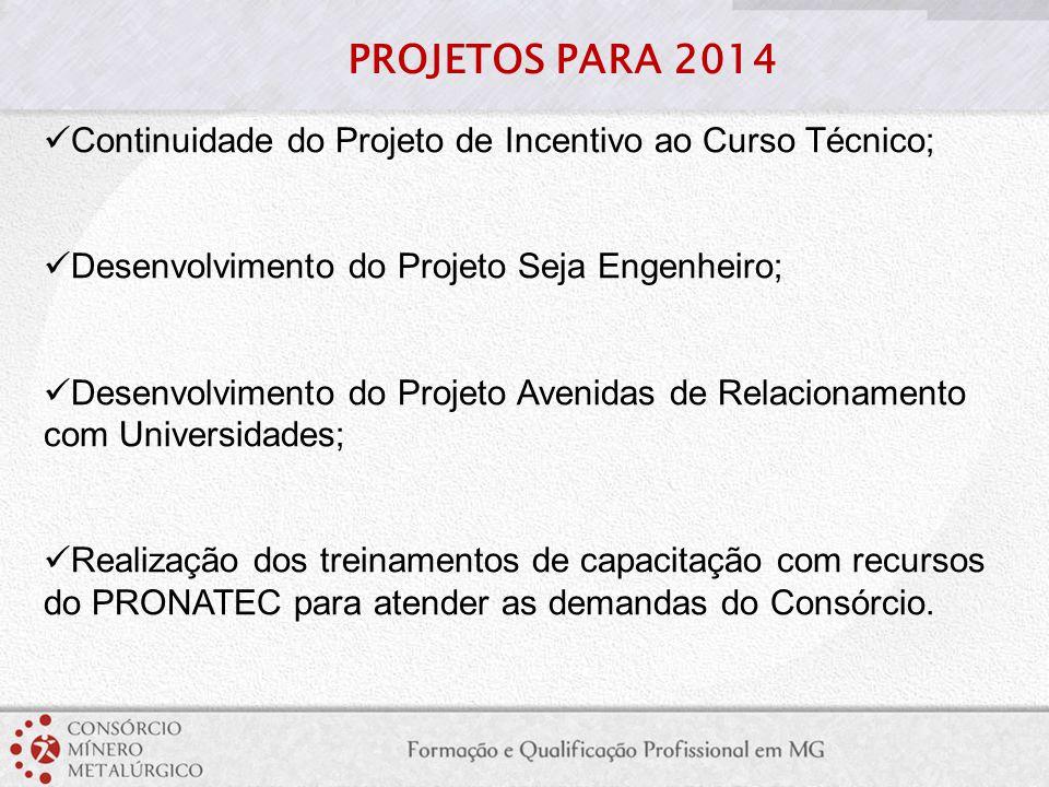 PROJETOS PARA 2014 Continuidade do Projeto de Incentivo ao Curso Técnico; Desenvolvimento do Projeto Seja Engenheiro;