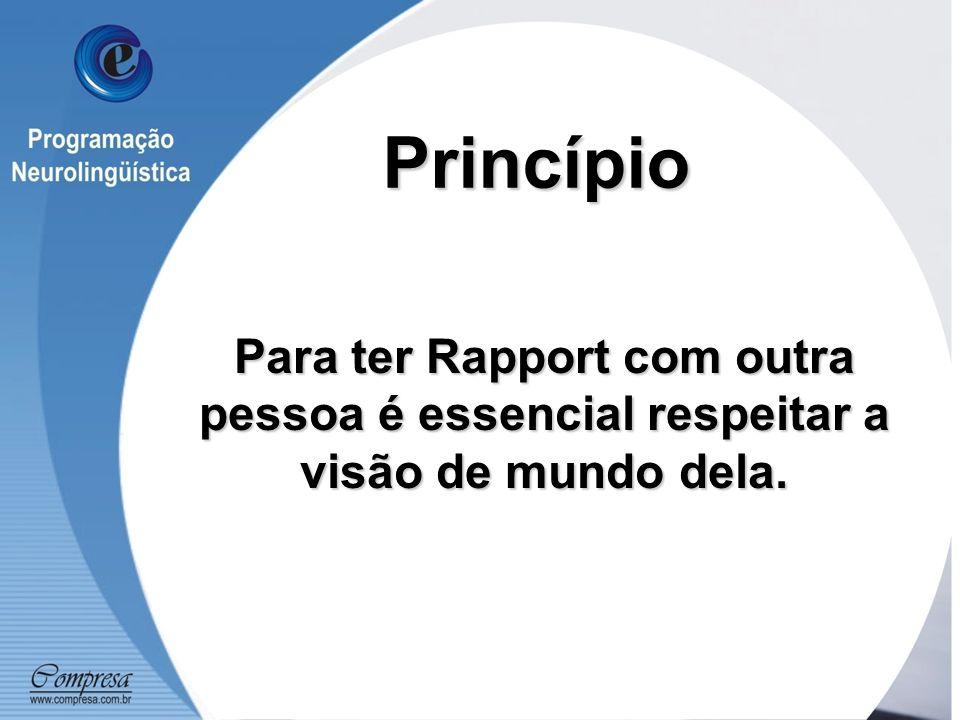 Princípio Para ter Rapport com outra pessoa é essencial respeitar a visão de mundo dela.