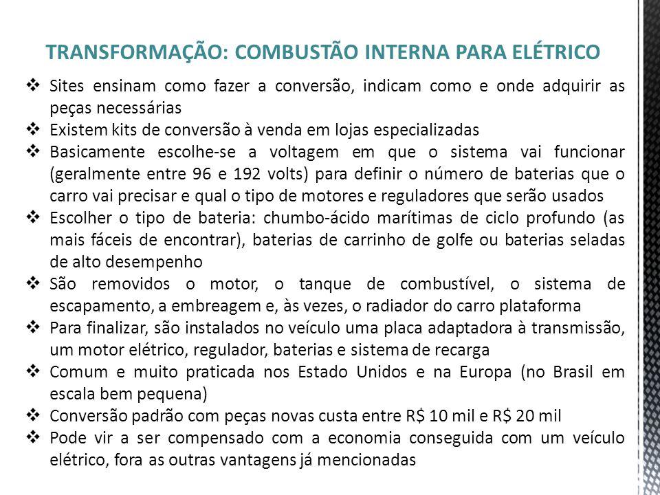 TRANSFORMAÇÃO: COMBUSTÃO INTERNA PARA ELÉTRICO