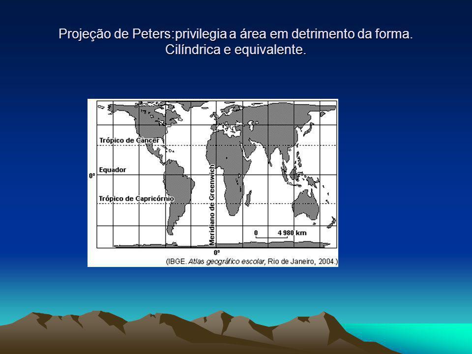 Projeção de Peters:privilegia a área em detrimento da forma