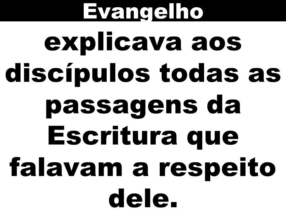 Evangelho explicava aos discípulos todas as passagens da Escritura que falavam a respeito dele. 110