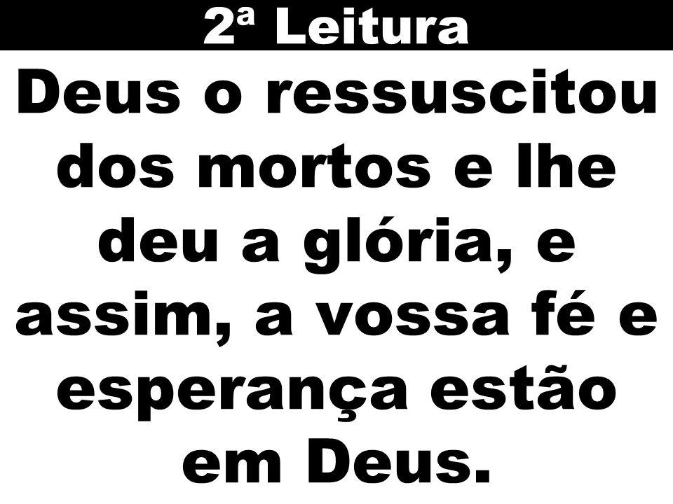 2ª Leitura Deus o ressuscitou dos mortos e lhe deu a glória, e assim, a vossa fé e esperança estão em Deus.