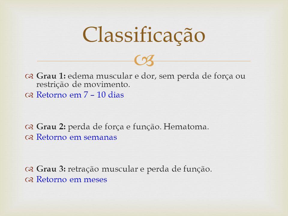 Classificação Grau 1: edema muscular e dor, sem perda de força ou restrição de movimento. Retorno em 7 – 10 dias.